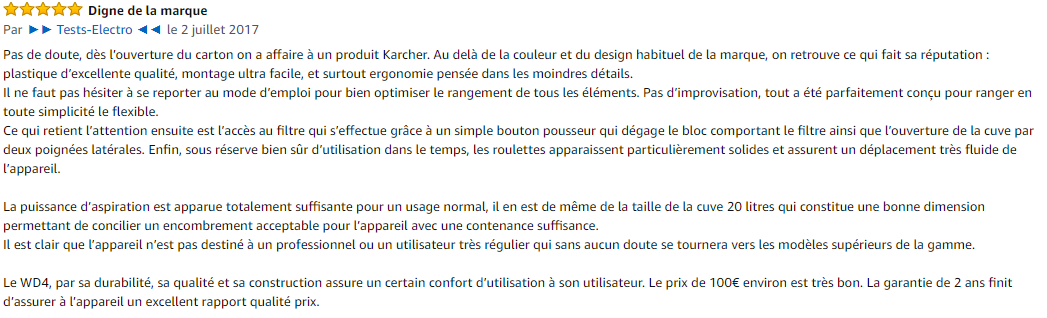 Avis client Kärcher WD4P Premium